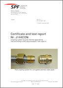 SPF testing certificate No 1